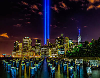Photograph - 9/11 Tribute In Light 2015 - Brooklyn by Nick Zelinsky