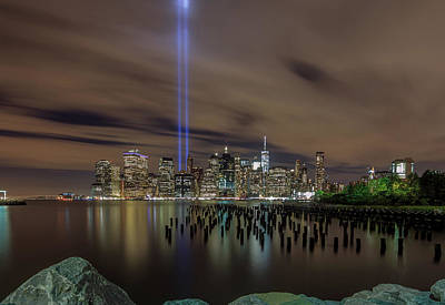 Photograph - 9/11 Tribute Lights 2016 by Anthony Fields
