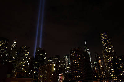 Photograph - 9-11 Tribute Nyc Skyline From Seaport by Jeff at JSJ Photography