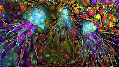 Iridescent Digital Art - Abstract Jellyfish by Amy Cicconi