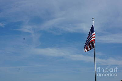 Painting - American Flag - Racine Seascape Natural Coas Lanscape - Wisconsin By Adam Asar by Celestial Images
