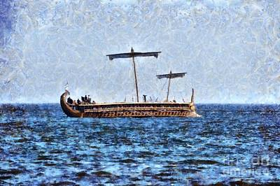 Painting - An Ancient Trireme Underway by George Atsametakis