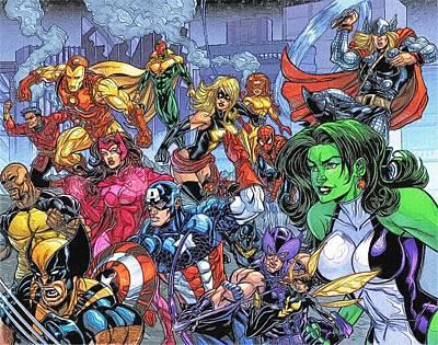 Superheroes Digital Art - Art Avengers by Egor Vysockiy
