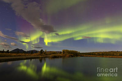 Aurora Borealis With Moonlight At Fish Print by Joseph Bradley