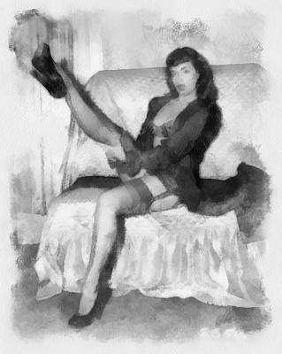 Sexy Stockings Painting - Bettie Page Pinup  by Esoterica Art Agency