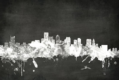 Blackboard Digital Art - Boston Massachusetts Skyline by Michael Tompsett