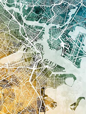 Boston Map Art Fine Art America