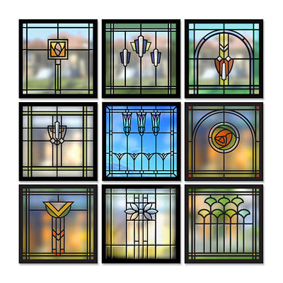 Glass Art Digital Art - 9 Bungalow Windows by Geoff Strehlow