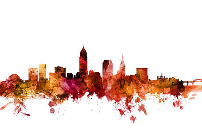 Digital Art - Cleveland Ohio Skyline by Michael Tompsett