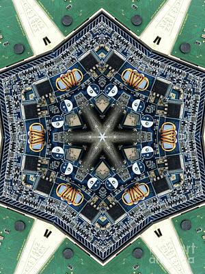 Kaleidoscope Photograph - Computer Circuit Board Kaleidoscopic Design by Amy Cicconi