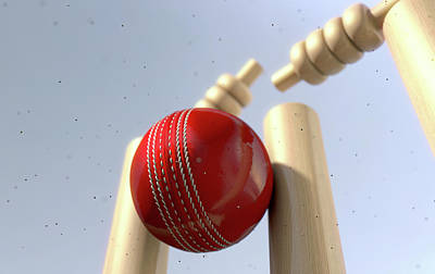 Cricket Digital Art - Cricket Ball Hitting Wickets by Allan Swart