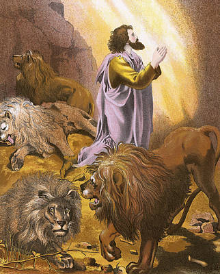 Daniel In The Lion's Den Art Print by English School