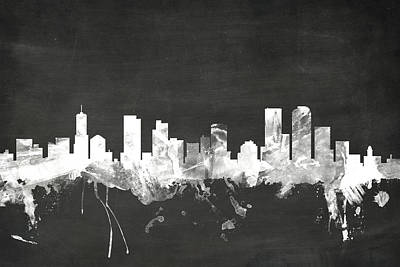 Blackboard Digital Art - Denver Colorado Skyline by Michael Tompsett