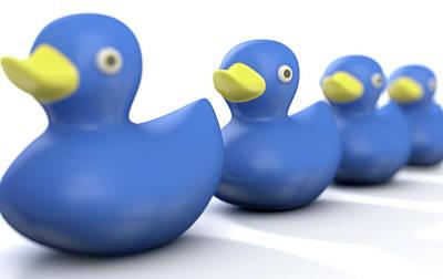 In A Row Digital Art - Ducks In A Row by Allan Swart