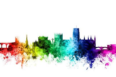 Great Britain Digital Art - Durham England Skyline Cityscape by Michael Tompsett