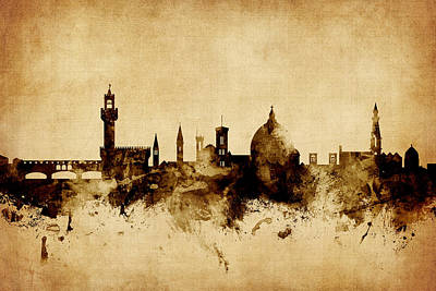 Florence Italy Skyline Art Print
