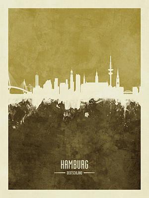 Digital Art - Hamburg Germany Skyline by Michael Tompsett