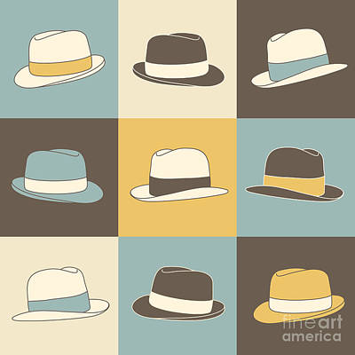 Digital Art - 9 Hats by Igor Kislev9 retro styled fedora hipster hats