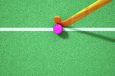 Turf Digital Art - Hockey Stick And Ball by Allan Swart