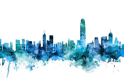 Hong Kong Wall Art - Digital Art - Hong Kong Skyline by Michael Tompsett
