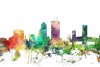 Jacksonville Florida Skyline Art Print by Marlene Watson