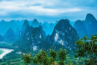 Photograph - Karst Mountains Landscape by Carl Ning