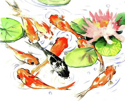 Painting - 9 Koi Fish by Suren Nersisyan