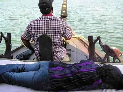 Photograph - Lady Sleeping While Boatman Steers by Ashish Agarwal