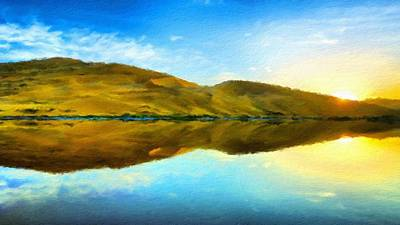 Cloud Digital Art - Landscape Oil Painting For Sale by Victoria Landscapes