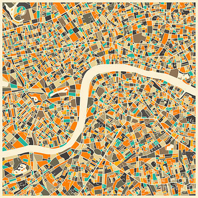 Abstract Map Digital Art - London Map by Jazzberry Blue