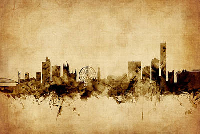 Watercolour Photograph - Manchester England Skyline by Michael Tompsett