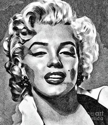 Marilyn Monroe Drawing - Marilyn Monroe By John Springfield by John Springfield