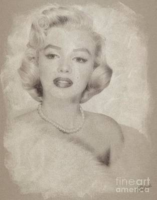 Marilyn Monroe Drawing - Marilyn Monroe Vintage Hollywood Actress by John Springfield