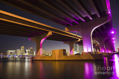 Florida Bridge Photograph - Miami by Juan  Silva