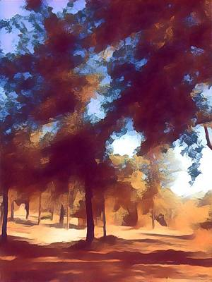 Mixed Media - Morning Walk Trees by Eloise Taesali