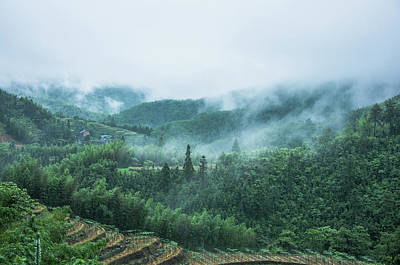 Photograph - Mountains Scenery In The Mist by Carl Ning