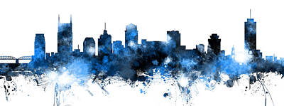Digital Art - Nashville Tennessee Skyline by Michael Tompsett