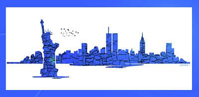 Digital Art - New York City Skyline by Sir Josef - Social Critic - ART