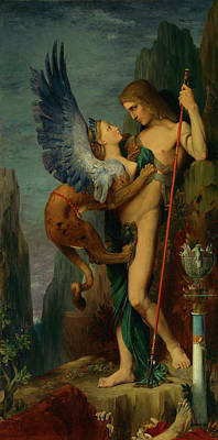 Half God Painting - Oedipus And The Sphinx by Gustave Moreau