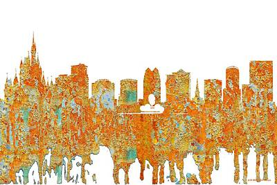 Digital Art - Orlando Florida Skyline by Marlene Watson