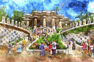 Photograph - Parc Guell In Barcelona Spain by Brandon Bourdages