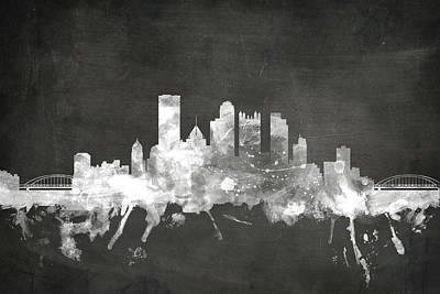 Blackboard Digital Art - Pittsburgh Pennsylvania Skyline by Michael Tompsett