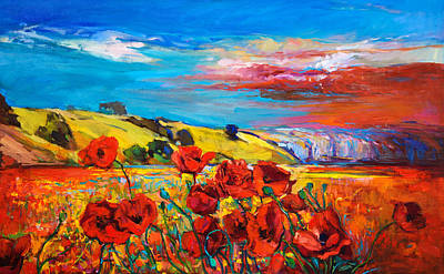 Beach Landscape Drawing - Poppy Fields By Ivailo Nikolov by Boyan Dimitrov