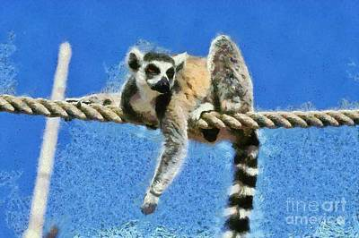 Painting - Ring Tailed Lemur by George Atsametakis