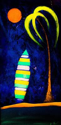 Wall Art - Painting - Salty Surfboard  by Barry Knauff