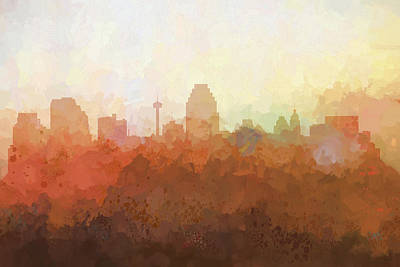 Digital Art - San Antonio Texas Skyline by Marlene Watson