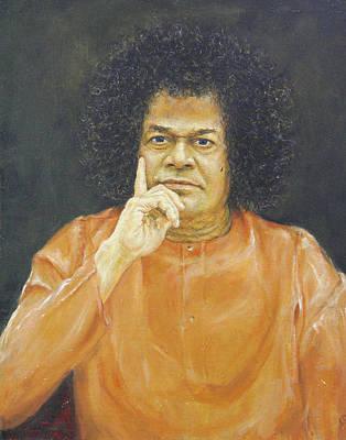 Baba Portrait Painting - Sathya Sai Baba by Eva Santi