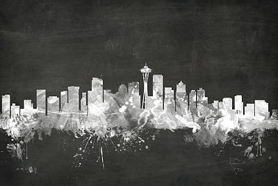 Blackboard Digital Art - Seattle Washington Skyline by Michael Tompsett