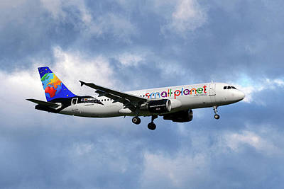 Planets Photograph - Small Planet Airlines Airbus A320-214 by Smart Aviation