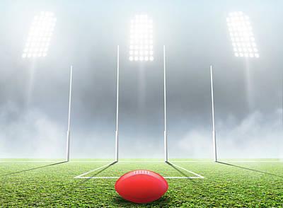 Turf Digital Art - Sports Stadium And Goal Posts by Allan Swart
